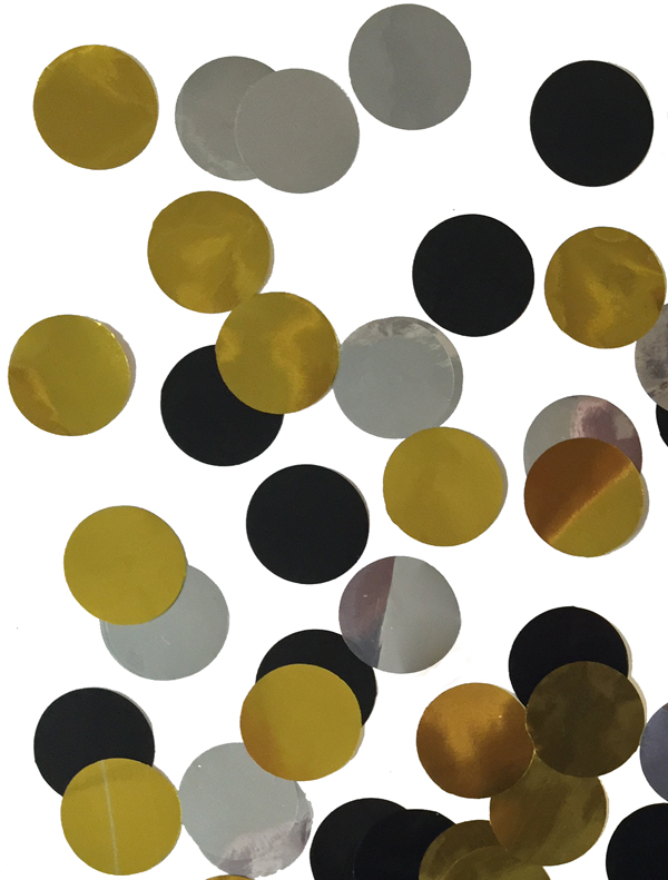 CONFETTI METALLIC SILVER/GOLD/BLACK CIRCLES - 200 GRAMS