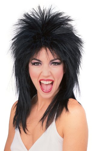 ROCK GOD/STAR/SLASH WIG BLACK SPIKY & LAYERED