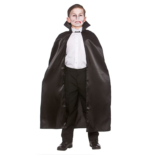 CHILD\'S LONG BLACK SATIN VAMPIRE CAPE