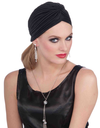 1920'S HOLLYWOOD BLACK OR WHITE TURBAN HAT