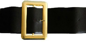 PIRATE/SANTA BELT - BLACK WITH SHINY GOLD BUCKLE