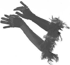 BLACK OR WHITE THEATRICAL GLOVES WITH FEATHERS