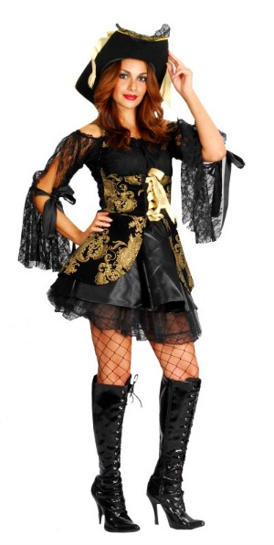 BLACK AND GOLD LACE PIRATE WOMENS COSTUME & HAT - MEDIUM - LARGE
