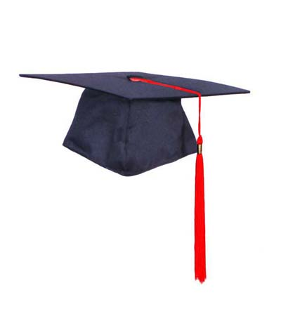 GRADUATION/MORTAR BOARD CAP - BLACK POLY COTTON WITH RED TASSEL