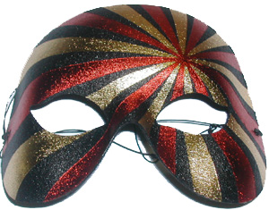 Image of Mask  Gold Red & Black Striped