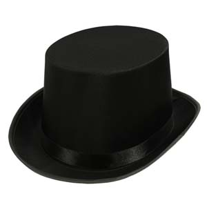 TOP HAT - FELT/SATIN - BLACK, WHITE OR GREY