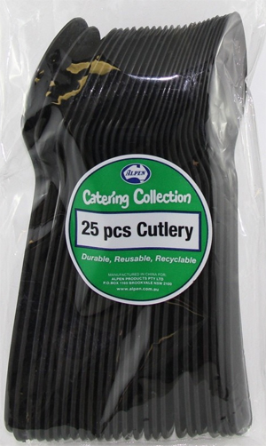 DISPOSABLE CUTLERY - BLACK SPOONS PK 25