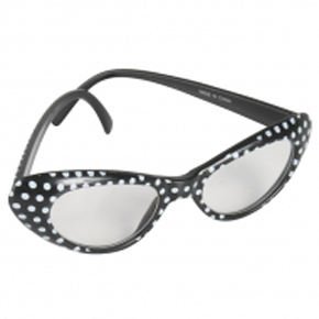 1960'S GLASSES BLACK WITH WHITE SPOTS