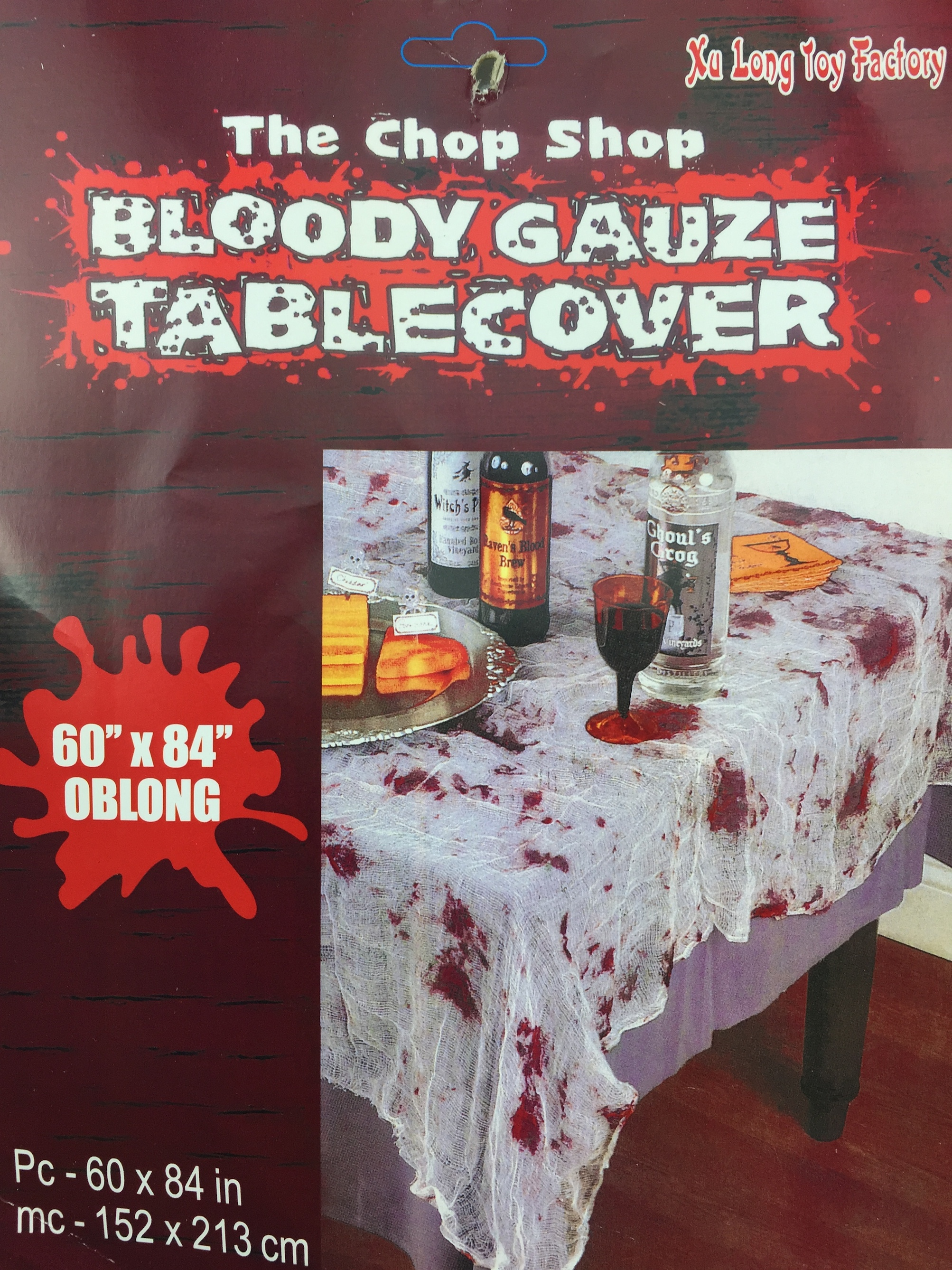 BLOODY STAINED GAUZE TABLECOVER
