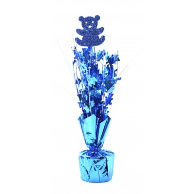 BLUE TEDDY BEAR WEIGHTED CENTREPIECE