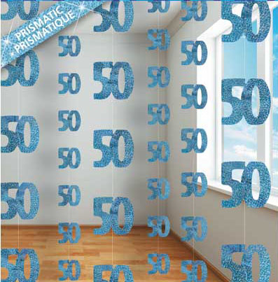 GLITZ BLUE GLITTERED 50TH BIRTHDAY STRING DECORATIONS
