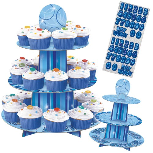 GLITZ BLUE CUPCAKE STAND BIRTHDAY BOY - CUSTOMISABLE