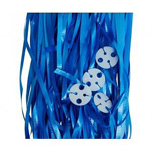 RIBBONS PRE-CUT METALLIC BLUE PK 25 WITH CLIPS