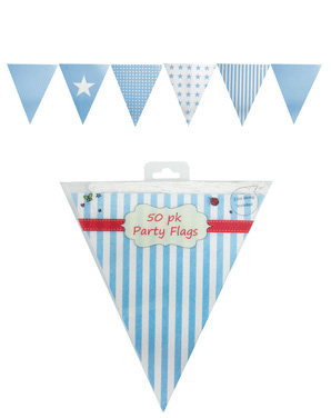 PALE BLUE STRIPE, POLKA DOT & STAR BUNTING 3.5M