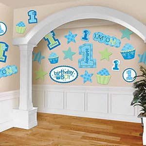 BABY BOYS 1ST BIRTHDAY CUT OUTS PK 30