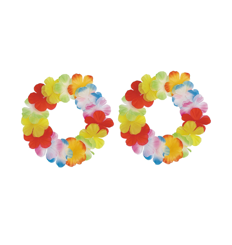 HAWAIIAN FLOWER LEI BRACELET/ANKLET SET - PK OF 2