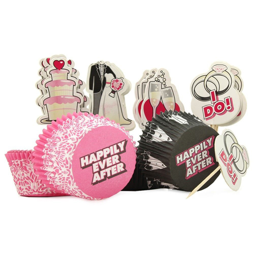 HEN'S NIGHT BRIDAL CUPCAKE SET WRAPPERS & TOPPERS