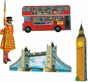 BRITISH SCENE CUTOUTS PACK OF 4