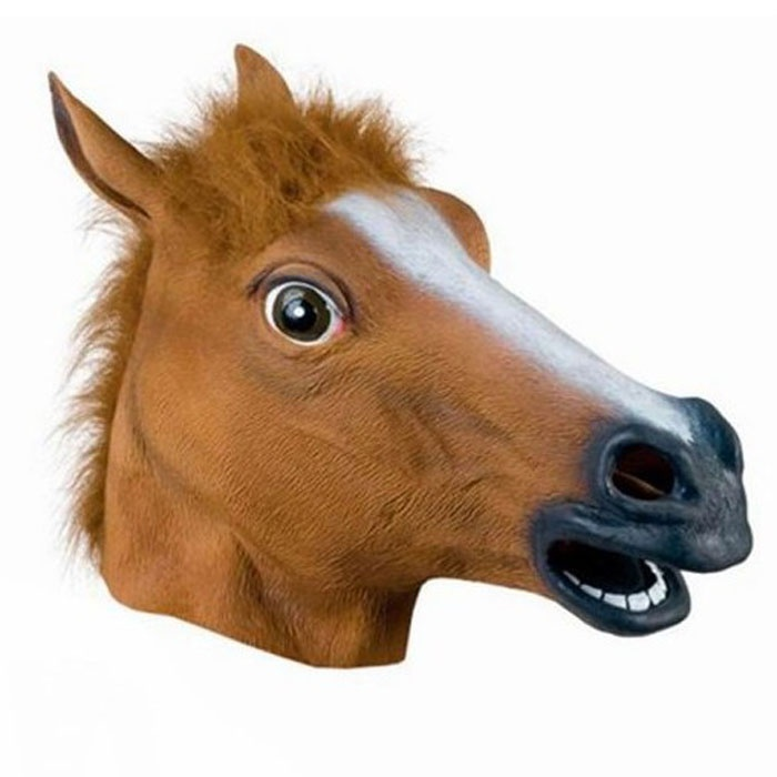 MASK - FULL LATEX BROWN HORSE HEAD