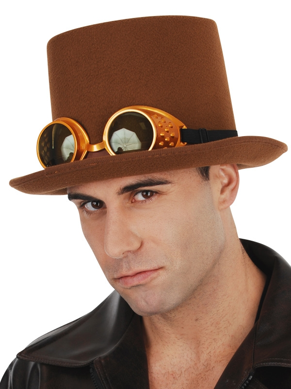 STEAM PUNK TOP HAT WITH GOGGLES - BROWN