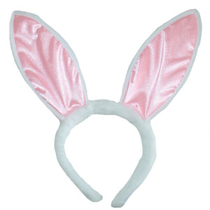 bunny ears on a headband pink and white
