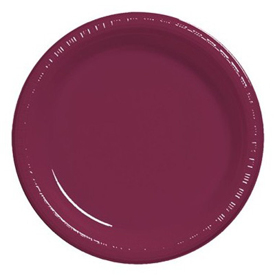 DISPOSABLE DINNER PLATE - BURGUNDY/ MAROON PACK OF 25