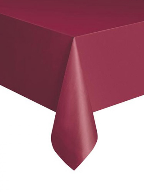 DISPOSABLE TABLECOVER - RECTANGULAR MAROON/BURGUNDY