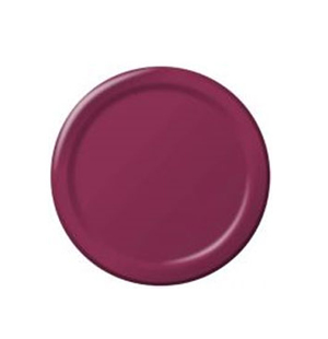 DISPOSABLE ENTREE / SNACK PLATE - BURGUNDY/MAROON PACK OF 25