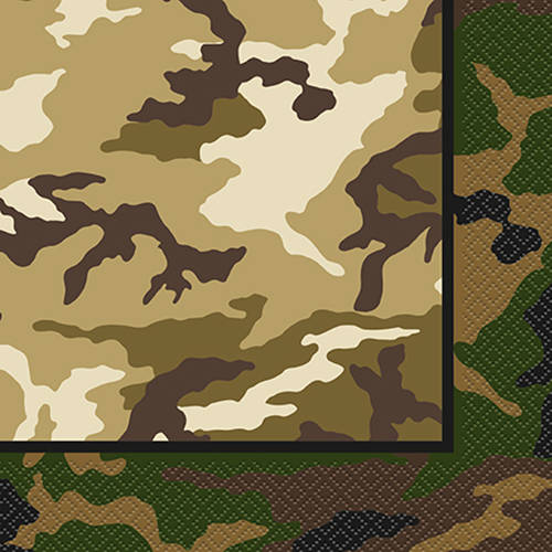 MILITARY CAMO LUNCH NAPKINS - PACK OF 16