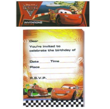 CARS 2 - INVITATIONS PACK OF 8