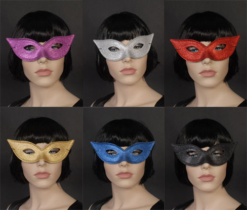 MASK - GLITTERED PLASTIC CAT EYE FLYAWAY - AVAIL IN 6 COLOURS