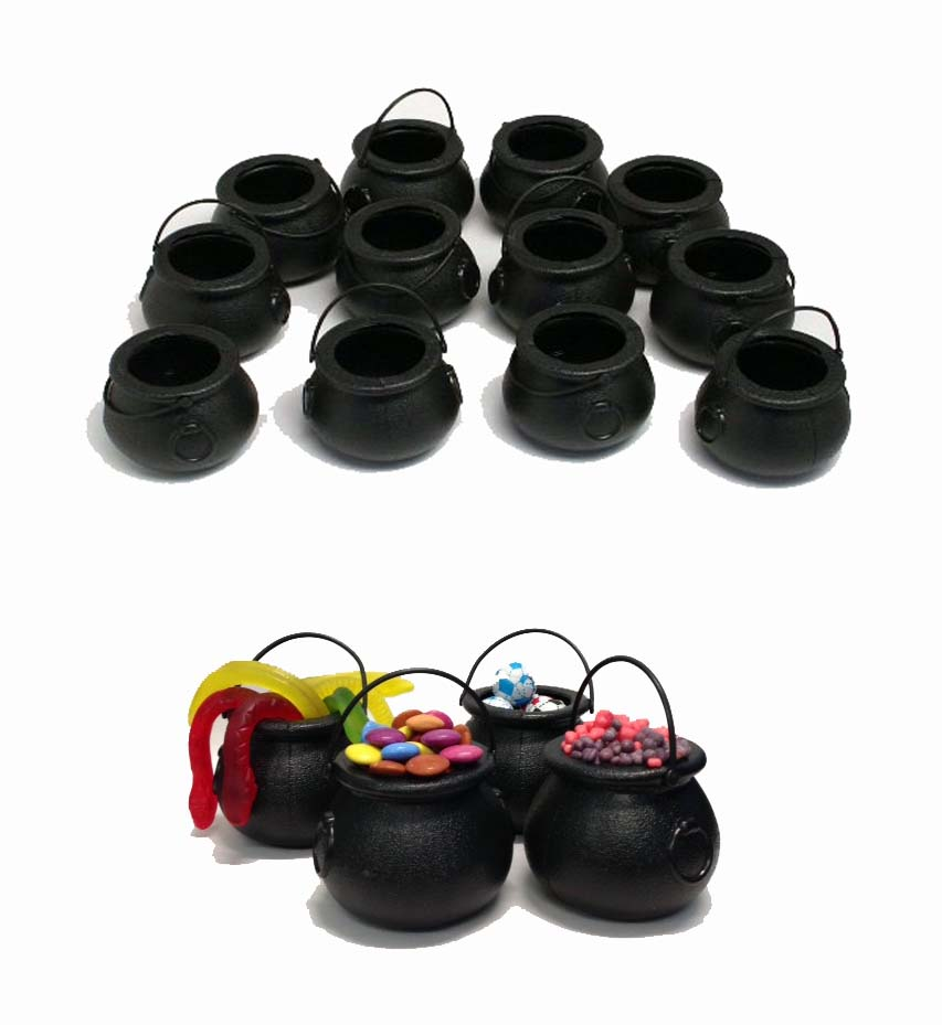 MINI CAULDRON BLACK CANDY CUPS SET OF 12