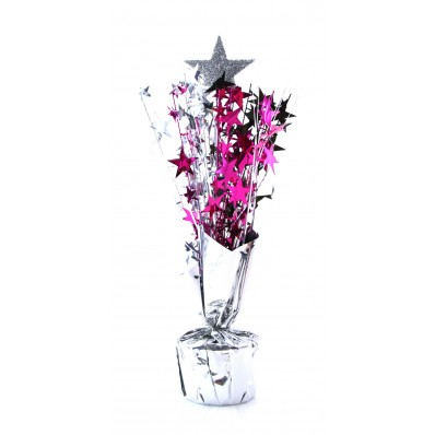 HOLLYWOOD STAR WEIGHTED CENTREPIECE - CERISE & SILVER