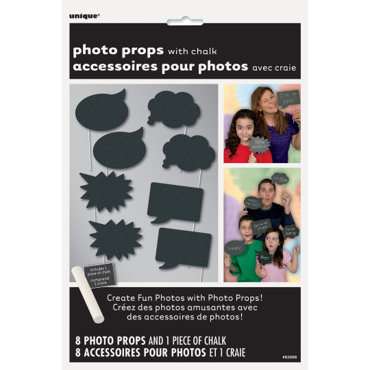 SELFIE PHOTO BOOTH PROPS - SPEECH BUBBLE CHALKBOARD PACK OF 10