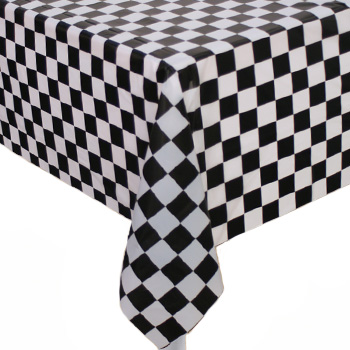 DISPOSABLE TABLECOVER - BLACK & WHITE CHECKERED FLAG