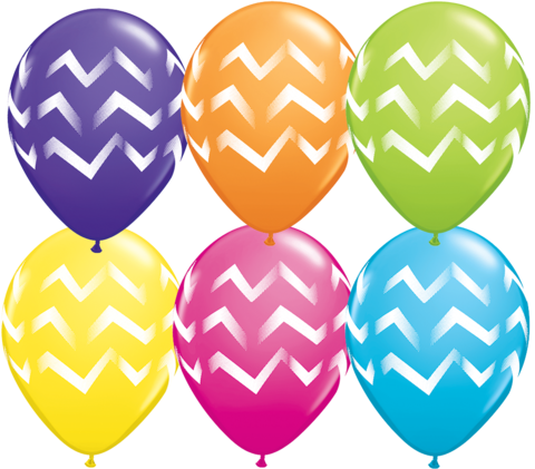 BALLOONS LATEX - CHEVRON STRIPES - PACK OF 6