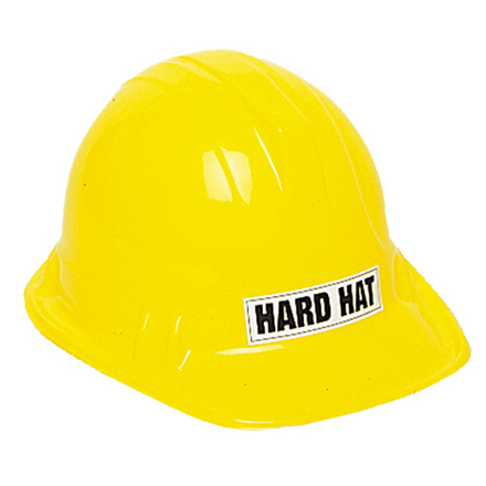 CHILD'S YELLOW PLASTIC CONSTRUCTION HARD HAT