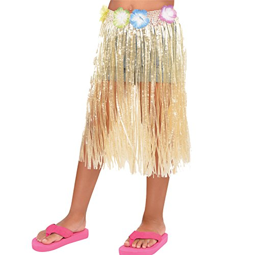 HAWAIIAN HULA SKIRT - WITH FLOWERED WAIST FOR CHILDREN