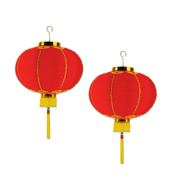 CHINESE PAPER GOOD LUCK LANTERN 25CM - PACK OF 2 SPECIAL