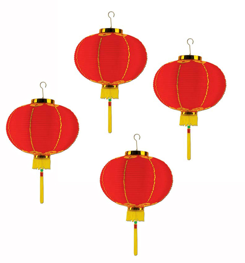 CHINESE PAPER GOOD LUCK LANTERN 30CM - PACK OF 4 SPECIAL