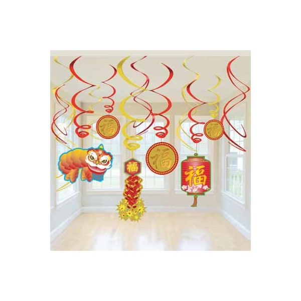 CHINESE NEW YEAR DECORATIVE HANGING WHIRLS - VALUE PACK 12