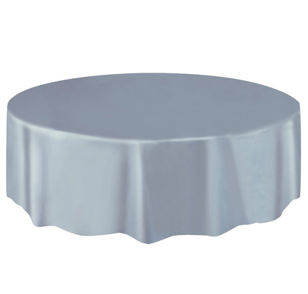 DISPOSABLE TABLECOVER - CIRCULAR SILVER