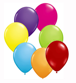 BALLOONS LATEX - CIRCUS ASSORTMENT OF BRIGHT COLOURS PK OF 28