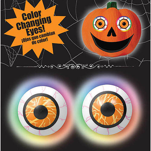 COLOUR CHANGING EYEBALLS ON SPIKES PUMPKIN DECO - 2 PIECE SET