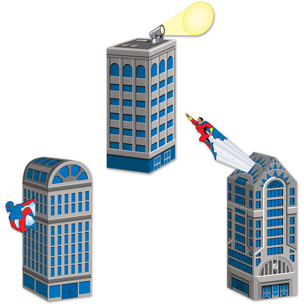 SUPERHERO CITY SCAPE CENTREPIECES/PARTY FAVOUR BOXES - PACK OF 3