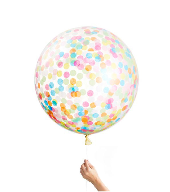 BALLOON LATEX - TISSUE CONFETTI GIANT CLEAR 3' ROUND