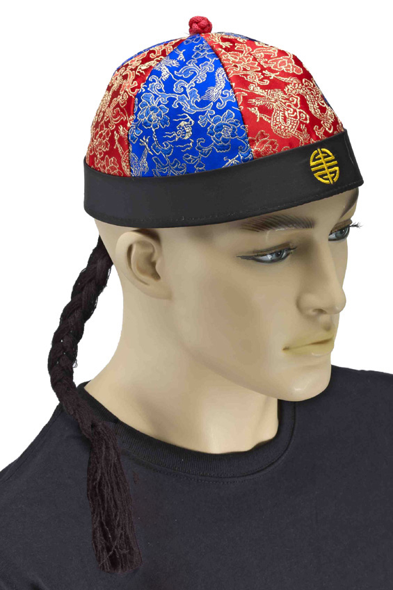 CHINESE COOLIE CAP WITH PIGTAIL