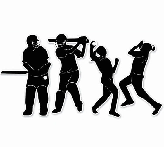 CRICKET PLAYER CUT OUTS SILHOUETTES - PACK OF 4