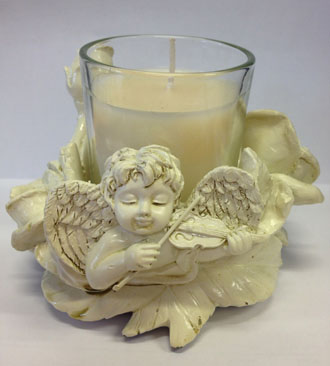 IVORY CUPID & ROSE CANDLE HOLDER