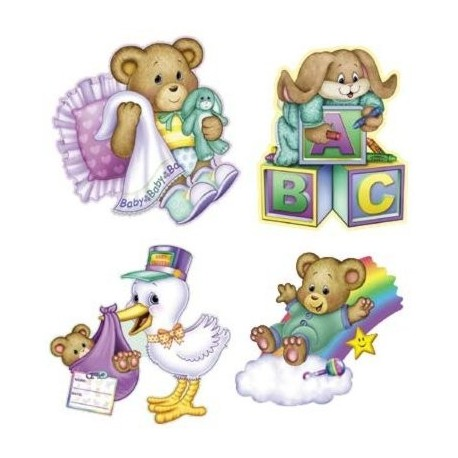 BABY SHOWER CUT OUTS - PACK OF 4